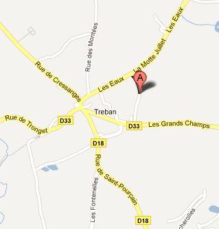 Treban shown on Google Maps